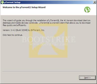 utorrent wizard welcome screen